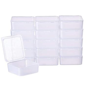 BENECREAT 24 Pack Cajas Transparente de Plástico Organizador de Plástico Transparente Esmerilado con Tapas para Pastillas, Hierbas, Cuentas, ...
