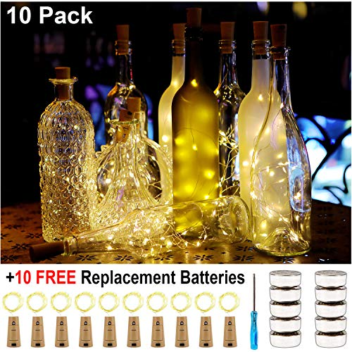 KZOBYD 10 Pack Wine Bottle Lights 20 LED Tiny Craft Bottle Lights Battery Operated Cork Lights for Wine Bottles Christmas Wedding Party Indoor Decor with 10 Spare Battery (Warm White) (Battery Operated Lights To Put In Wine Bottles)