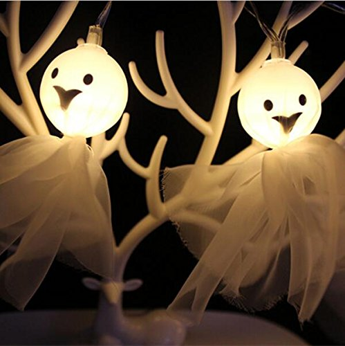 Halloween Spider Lantern Set 4f Light Ghost Light 10 LED String Lights Lndoor Outdoor Halloween Parties Decorations Series DIY Battery Operated (Warm white (Halloween Spider Icicle Lights)