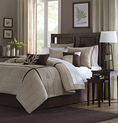 Madison Park Dune Queen Size Bed Comforter Set Bed in A Bag - Khaki, Pieced – 7 Pieces Bedding Sets – Faux Suede Bedroom Comforters (Beige Set Comforter)