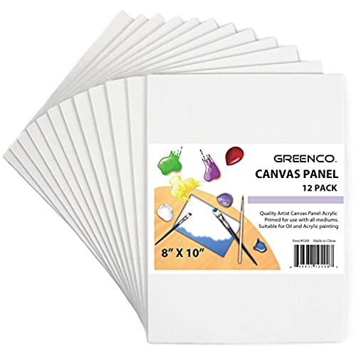 greenco professional quality canvas panel 8 x 10 inch pack of 12 - Paint Pictures For Kids