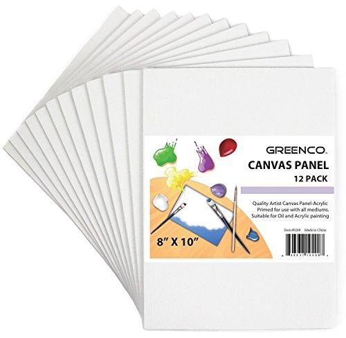 Greenco, Panel de Lienzo de Calidad Profesional, 20.32cmx25.4cm, Paquete por 12Unidades