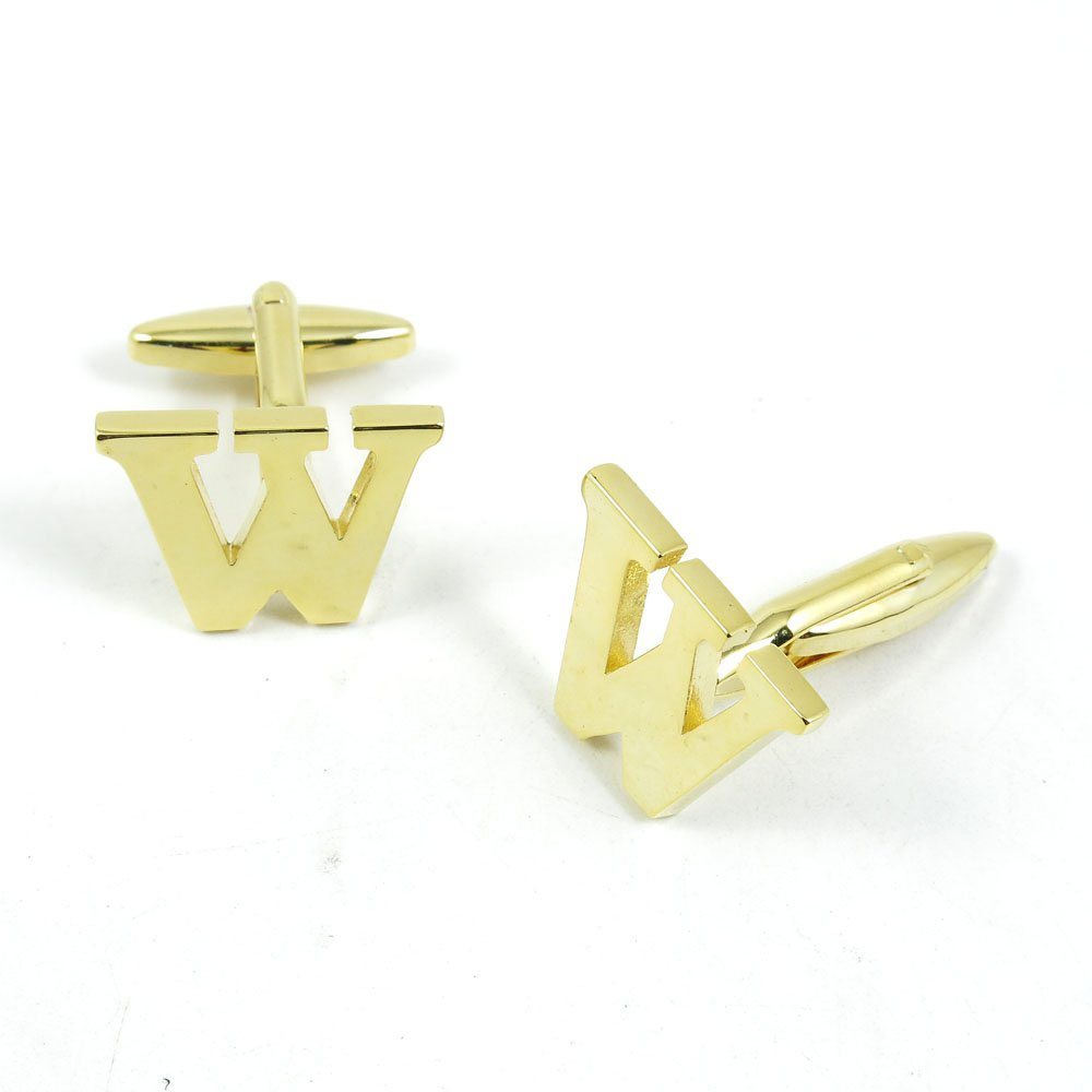 50 Pairs Cufflinks Cuff Links Fashion Mens Boys Jewelry Wedding Party Favors Gift 077RM0 Golden Letter W by Fulllove Jewelry