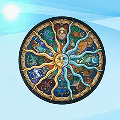 Tomaibaby Round Jigsaw Puzzle Twelve Constellations Jigsaw Zodiac Puzzle 500 Pieces Mythic Celestial The Sun and Moon Constellation Toy Educational Gift for Adult Kids Children: Arts, Crafts & Sewing