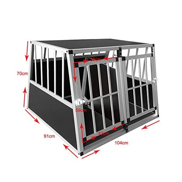 Dog Cage, Aluminum Car Dog Cage Travel Car Crate Puppy Transport Pet Carrier WarmieHomy(104 x 91x 70cm) 3
