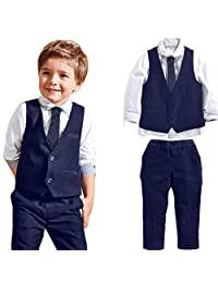LUNIWEI Boys 4PCS/Set Outfits Wedding Suits White Shirt + Waistcoat + Trousers + Tie