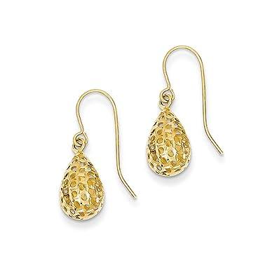 bbe28729dd53b Amazon.com: 11mm Diamond Cut Puffed Teardrop Dangle Earrings in 14k ...