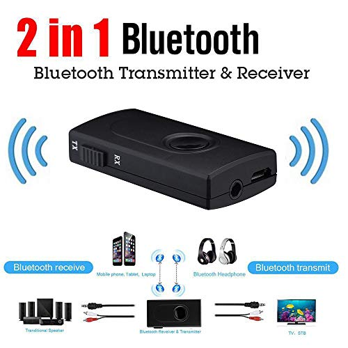 Price comparison product image Sandistore Bluetooth 2in1 Transmitter / Receiver Wireless 3.5mm Audio Adapter (AptX Low Latency Both TX & RX,  2 Devices Simultaneously TV,  Home Stereo, Xbox One MP3 Player)