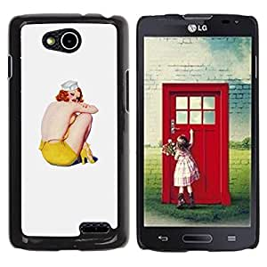 Be Good Phone Accessory // Dura Cáscara cubierta Protectora Caso Carcasa Funda de Protección para LG OPTIMUS L90 / D415 // Art Grey Yellow Redhead Sailor