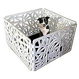Paw Essentials Reinforced Dog/Pet 4-Panel Pen Playpen with Door - 23.62 x 37.4in Each Panel (White)