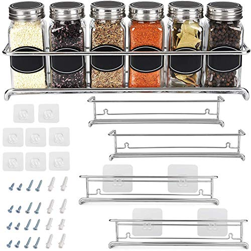 Spice Rack Organizer for Cabinet, Door Mount, or Wall Mounted - Set of 4 Chrome Tiered Hanging Shelf for Spice Jars - Storage in Cupboard, Kitchen or Pantry - Display ()