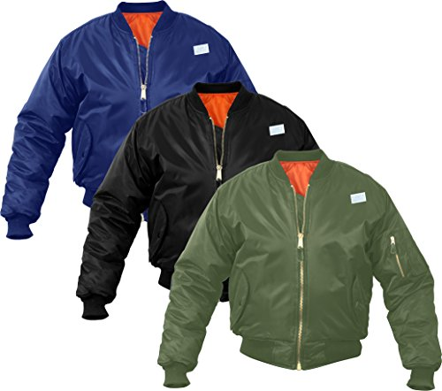 Solid-Reversible-Air-Force-Military-MA-1-Bomber-Flight-Jacket-with-ARMY-UNIVERSE-Pin