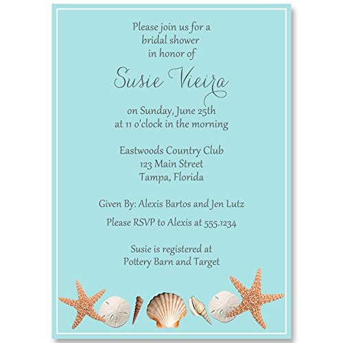 Bridal Shower Invitations, Beach, Sea Shells, Blue, Sand Dollar, Starfish, Wedding, Retro, Oceanside, Personalized, Customizable, Set of 10 Custom Printed Invites with - Custom Printed Invitations
