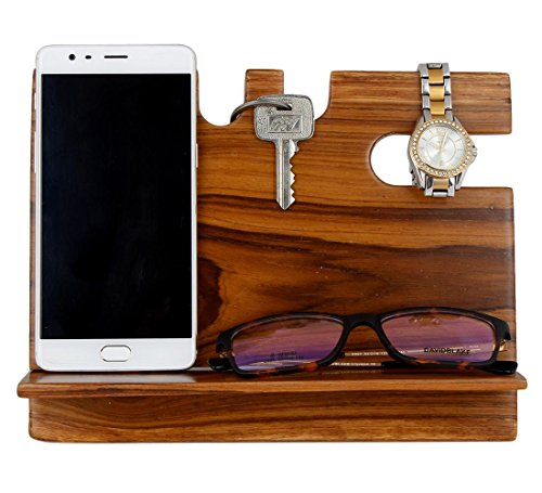 MOJO PANDA Mojopanda Teak Wood Office Desk |Desktop| Wooden Phone Docking Station with Key Holder, Wallet and Watch Organizer Best Men's Women's Gifts Ideas