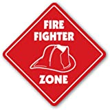 FIREFIGHTER ZONE Sign fire fighter fireman gift house station graduate fires