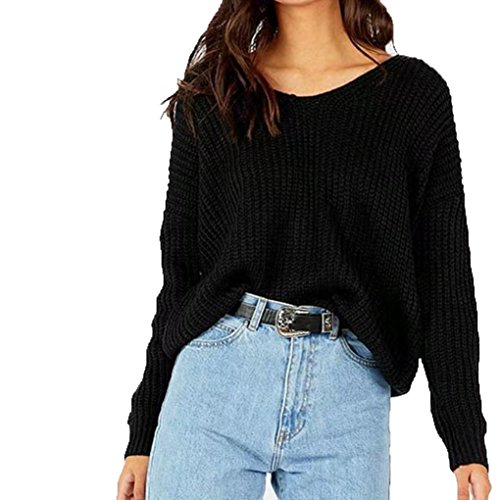 Backless Bandage Sweater Kinghard Women Casual Long Sleeve Sweaters Knitted Sweaters Backless Bandage Sweaters Tops Blouse Autumn,Winter Sweaters Casual,Daily Sweaters (Black)