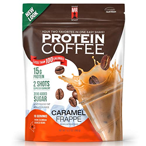 Complete Nutrition | Maine Roast Protein Coffee | Caramel Frappé Flavor | 15g Whey Protein | 2 Shots Espresso | 80 Calories | 12.7oz Pouch