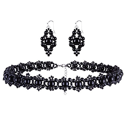 Vijiv Women's Vintage Bridal Jewelry Sets Beads Imitation Pearls Wedding Necklace and Earrings Set Roaring 20s Accessories For Gatsby Party Prom ()