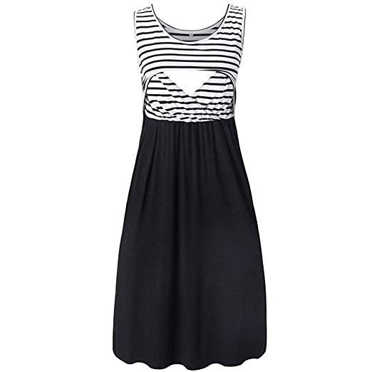 b5f770af22ae6 Women's Maternity Summer Dress Pregnant Sleeveless Stripe Nursing Layered Breastfeeding  Dresses (S, Black)