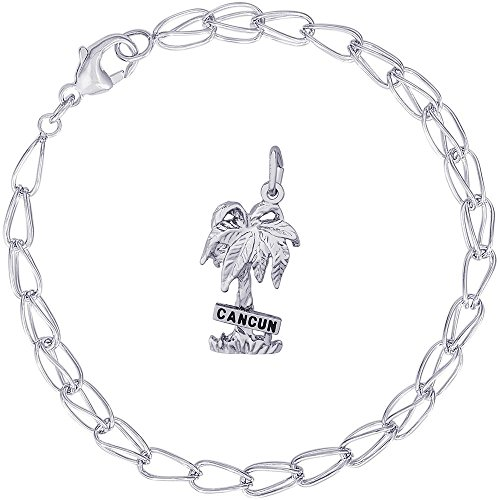 Rembrandt Charms Sterling Silver Cancun Palm Tree Charm on a Double Twist Bracelet, 8