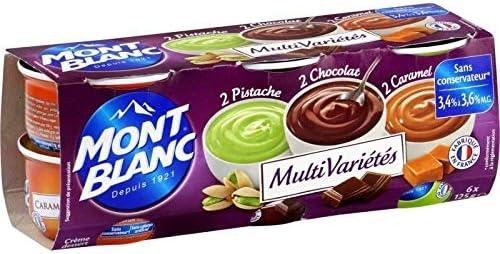 Mont Blanc - Crema Postre Multi Variedad Chocolate Caramelo Pistacho 6X125G - Crème Dessert Multi Variétés Chocolat Caramel Pistache 6X125G - Precio Por ...