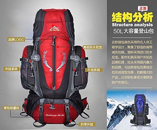 Fengtu External Frame Backpacks 80L+ 5L backpacks for men women hiking camping large backpacks profession waterproof sports bags package (black, 85L)
