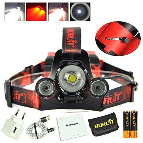 BORUIT B22 XM-L2+2X XPE Red LED Hunting Headlamp Micro USB Headlight Torch 2x18650 PCB Batteries+Wall charger Head+USB+Cloth bag
