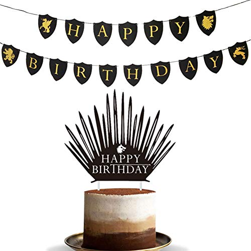 Awyjcas Game of Thrones banner Crown Cake Topper Party Supplies Decorations -
