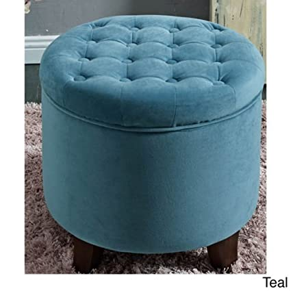 Round Tufted Storage Ottoman Large Teal  sc 1 st  Amazon.com & Amazon.com: Round Tufted Storage Ottoman Large Teal: Kitchen u0026 Dining