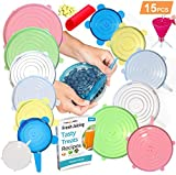 FabQuality 15PCS - Silicone Stretch Lids 13pcs, with oil funnel and garlic peeler Various Sizes and Shape of Containers, Reusable, Durable and Expandable Food Covers, Keeping Food Fresh, Dishwasher