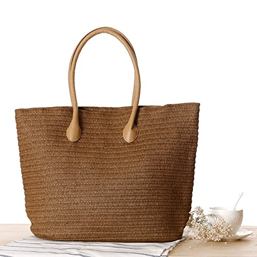Handbag Leather Brown with Handmade Bag Summer Straw Shoulder Purse Classic Tote Beach Dark Women's Straps PU n4qYvUwRZ