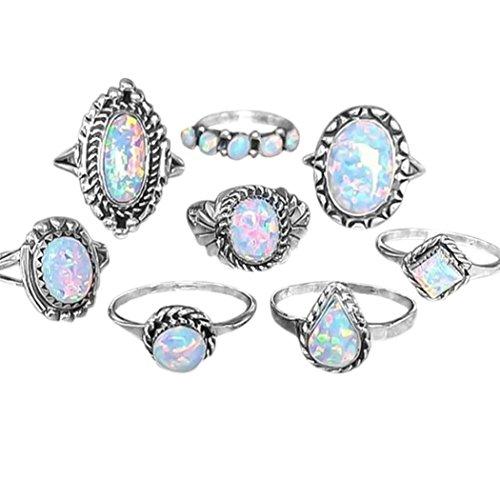 Sinwo 8Pcs/set Rings Set Women Vintage Sterling Natural Gemstone Fire Opal Diamond Ring Wedding Jewelry Gift (Silver)