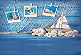 Yeele Sea Backdrops 7x5ft /2.2 X 1.5M Sea Blue Wooden Plank Shell Sailboat Starfish Conch Fishing Net Pictures Baby Adult Artistic Portrait Photoshoot Props Photography Background Wallpaper