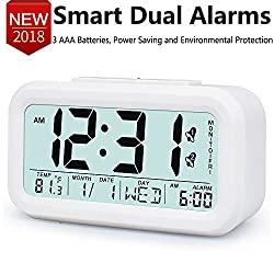 Digital Alarm Clock 5.3 Electronic Morning Desk/Shelf Clock with Large LCD Display 2 Alarms, Snooze/Smart Nightlight, Date/Temperature, Battery Operated for Kids/Teens/Seniors/Bedside/Office, White