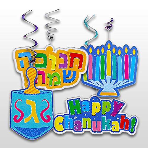 Chanukah Swirl Decorations - 8 Pieces - Giant Hanging Menorah, Dreidel, Happy Chanuka and Chanukah Sameach Signs - Hanukkah Party Decorations and Supplies by Izzy 'n' Dizzy -