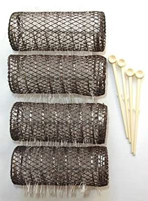 "2 Pack (TOTAL 8 ROLLERS w/ 8 Pins) HAIR STYLING BRUSH ROLLERS & PINS Hair Curlers 3"" x 1 1/8"" Bristles"