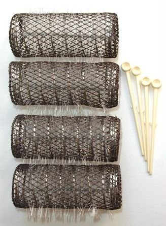 2 Pack (TOTAL 8 ROLLERS w/ 8 Pins) HAIR STYLING BRUSH ROLLERS & PINS Hair Curlers 3