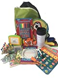 Travel Activity Bag Kit for Kids - Keep children busy on the airplane or in the car. For boys or girls age 6-12. Backpack, toys, games, crafts, travel cup and more. 16 piece bundle.