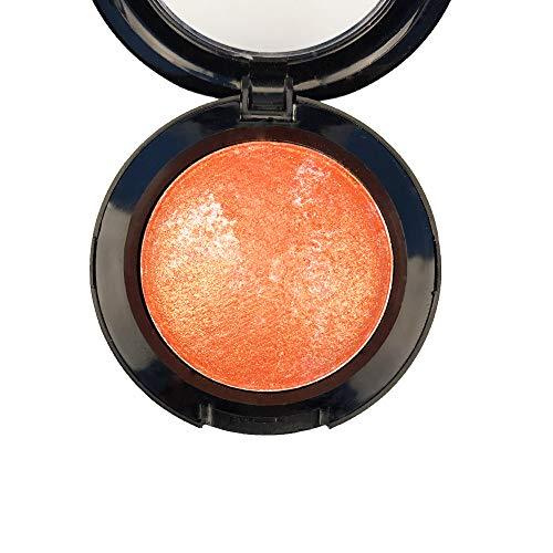 Mallofusa Single Shade Baked Eye Shadow Powder Palette Glitter Makeup Kit in Shimmer 15 Metallic Colors (Pumpkin Orange) 8g/0.28oz