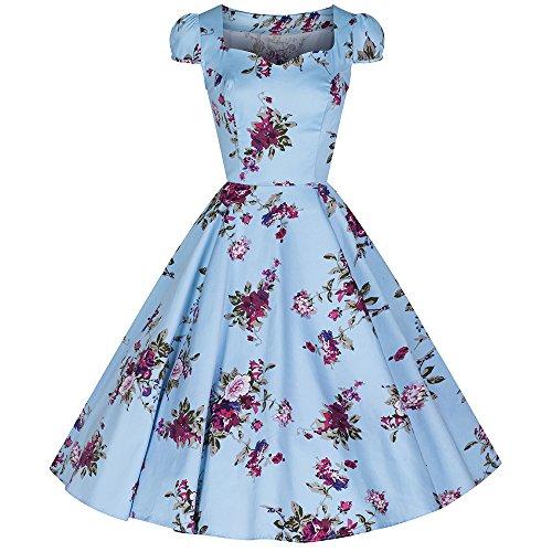 Pretty Kitty hellblauen Blüten-Blumendruck Baumwolle 50s Kleid
