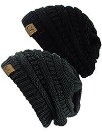 Trendy Warm Chunky Soft Stretch Cable Knit Beanie Skully,...