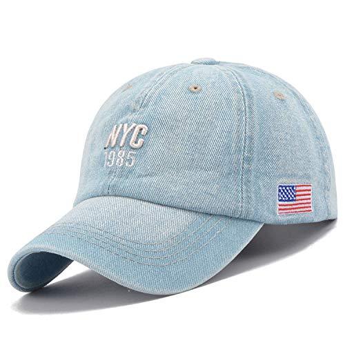 NYC Denim Baseball Cap Men Women Embroidery Letter Jeans Snapback Hat Summer Sports USA Hip Hop Cap]()