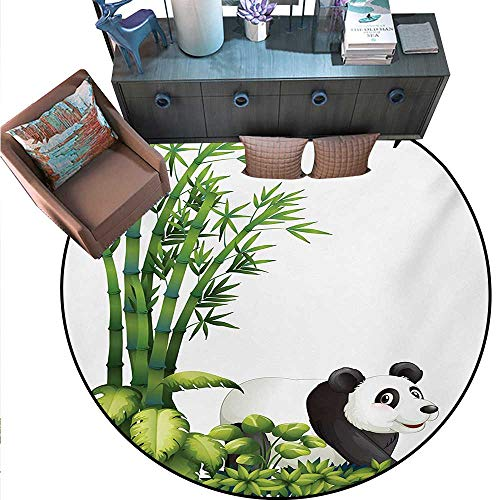 Panda Round Soft Area Rugs Happy Panda with Tropical Plants Bamboo Trees Endangered Mammals Cartoon Art Perfect for Any Room, Floor Carpet (59