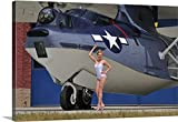 Christian Kieffer Gallery-Wrapped Canvas entitled Retro pin-up girl posing with a World War II era PBY Catalina seaplane