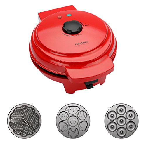 Finether Waffle Maker Machine, Multi-Plate Waffle Iron, Mini 3-in-1 Non-Stick Snack Maker Adjustable Temperature, Easy to Clean, Cord Wrap & Cool Touch Handle, Red