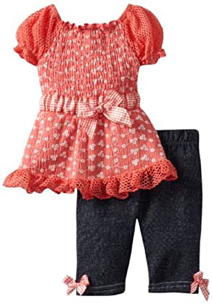 Little Lass Baby-Girls Infant 2 Piece Capri Set with Cap Sleeves, Coral, 6-9 Months