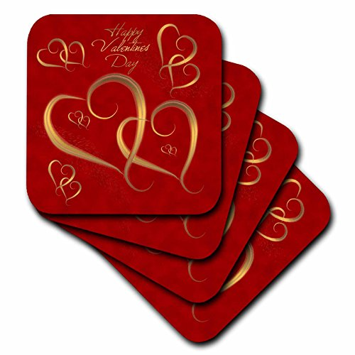 - 3dRose Golden Hearts Entwined on A Mottled Red Background with Happy Valentines Day - Soft Coasters, Set of 8 (cst_37589_2)