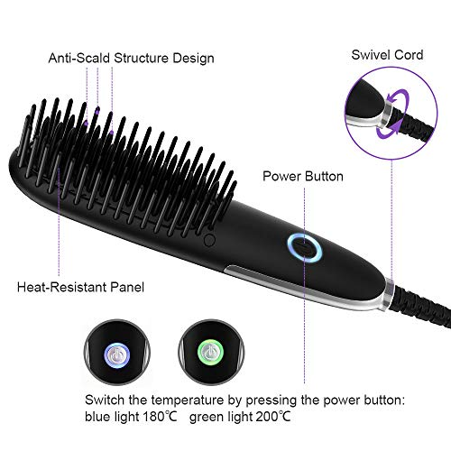 Miropure Beard Straightener for Men, Mini Beard Straightening Heat Brush Comb Ionic – Electric Dual Voltage 100V-240V – For Home Travel