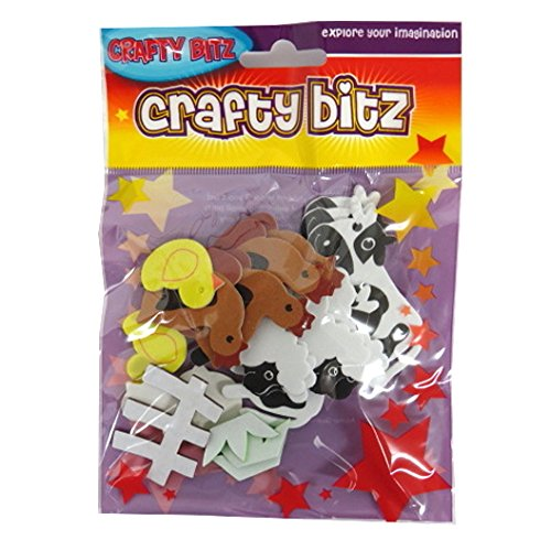 - CRAFTY BITZ Foam Craft Eva Shaped Stickers - Farm Animals, Pack of 35
