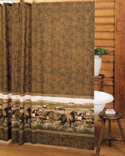 Wild Horses Theme Brown Fabric Shower Curtain